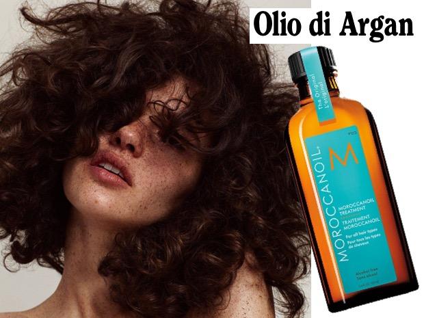 Olio argan capelli crespi